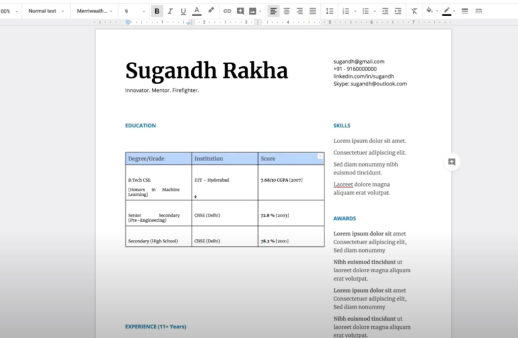 declaration format for resume